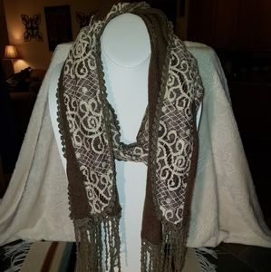 Accessories - Brown Knit Cream Lace Fringed Scarf